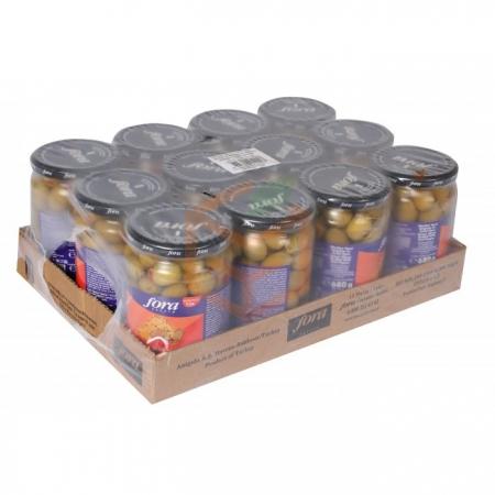Fora Biberli Yeşil Zeytin 400gr - 12`li Koli | Gıda Ambarı