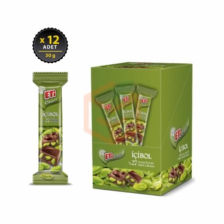 Eti İçibol %27 Antep Fıstıklı Sütlü Çikolata 30gr (k:67772) -12`li Paket | Gıda Ambarı