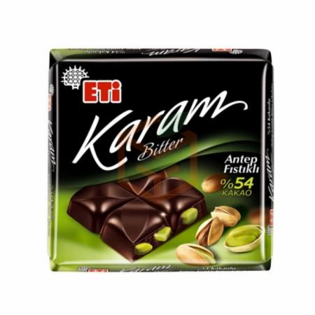 Eti Karam %54 Kakaolu Antep Fıstıklı Bitter Çikolata 60gr (k:72776) -6`lı Paket | Gıda Ambarı
