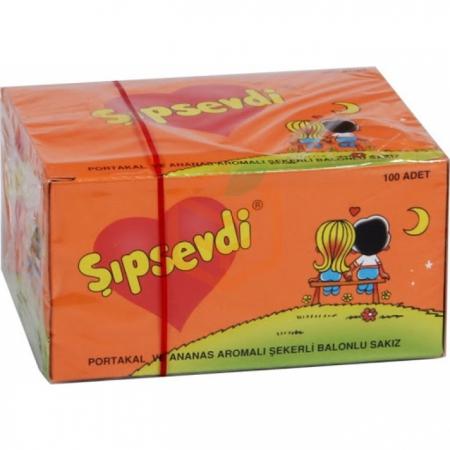 Şıpsevdi Portakal-ananas Aromalı Balonlu Sakız -100`lü Paket | Gıda Ambarı