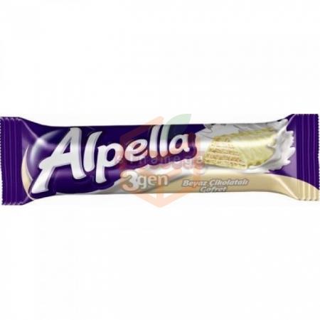 Ülker Alpella 3 Gen Beyaz Çikolatali Gofret 24gr - 24`lü Paket | Gıda Ambarı