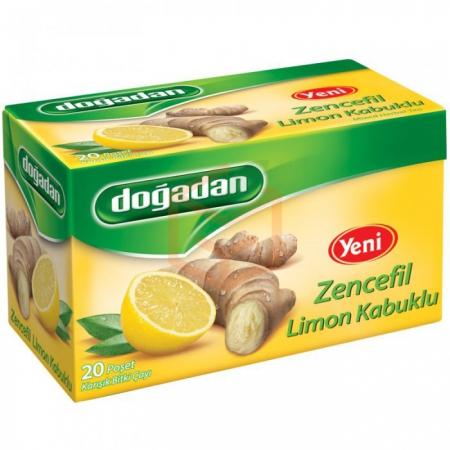 Doğadan Limon Zencefil Karışık Bitki Çayı 20' li Paket-12' li Koli | Gıda Ambarı