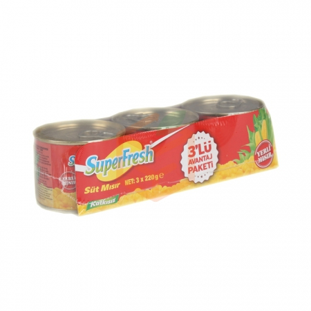 Super Fresh Mısır Konservesi 3`lü 220 Gr 15' li Koli | Gıda Ambarı