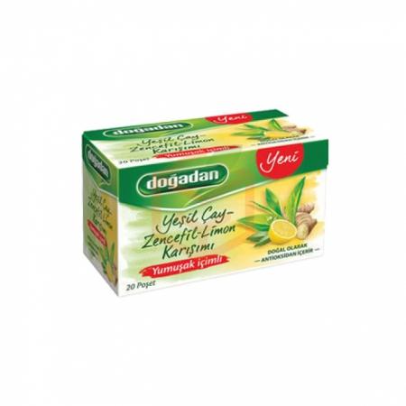 Doğadan Yumuşak İçimli Yeşilçay Zencefil Limon Karışımı 20' li - 12' li Koli | Gıda Ambarı