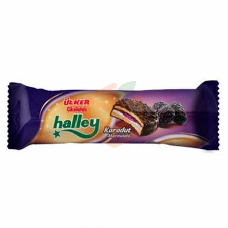 Ülker Halley Karadut Marmelatlı Mini Bisküvi 74 Gr 24' lü Koli Toptan - Atıştırmalıklar - Bisküvi -
